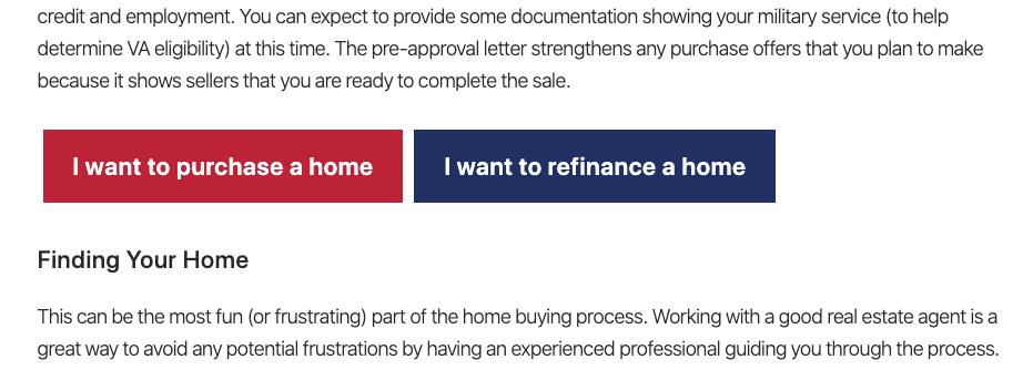 VA loan website buttons